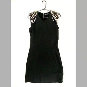 Mini black studded shoulder dress